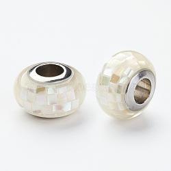 Perles européennes de résine en 304 acier inoxydable , Avec coquille et émail, rondelle, Perles avec un grand trou   , beige, 12x8mm, Trou: 5mm(RPDL-P002-A12)