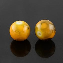 "Perles en verre d'effilage, rond, verge d'or, 10 mm; trou: 1.3~1.6 mm; environ 80 pcs / brin, 31.4""(GLAD-S075-10mm-36)"