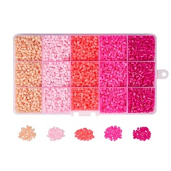 Diy perles à repasser en tube kits, avec des pincettes perlage plastique, carrés pegboards abc en plastique et papier à repasser, couleur mixte, 3x2.5 mm; environ 7 g / compartiment(DIY-PH0005-03)