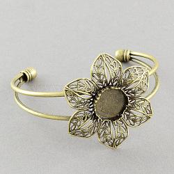 Brass Cuff Bangle Making, Filigree Flower Blank Bangle Base, Antique Bronze, 2-1/2inches(6.3cm); tray: 14mm(X-MAK-S001-SZ019AB)