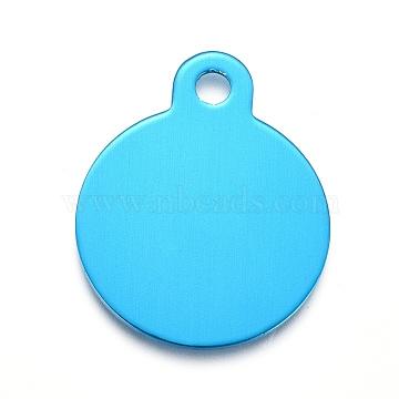 Pendentifs en aluminium, estampillage d'une étiquette vierge, plat rond, bleu foncé, 31x25x1mm, Trou: 3mm(ALUM-I002-01G)
