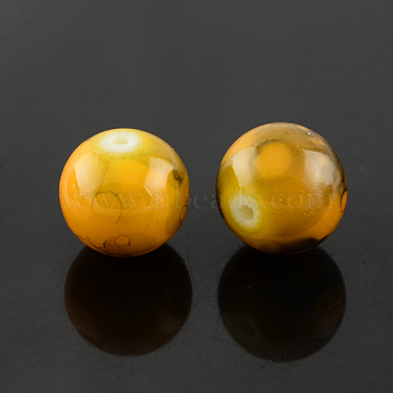 Spray Painted Glass Bead Strands, Round, Goldenrod, 10mm; Hole: 1.3~1.6mm; about 80pcs/strand, 31.4inches(GLAD-S075-10mm-36)