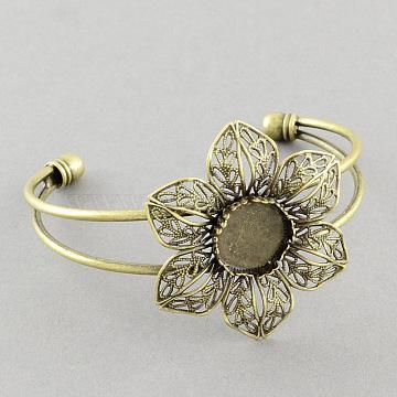 Brass Cuff Bangle Making, Filigree Flower Blank Bangle Base, Antique Bronze, 2-1/2 inches(6.3cm), tray: 14mm(X-MAK-S001-SZ019AB)