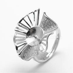 Composants de bagues en 925 argent sterling, avec zircons, pour la moitié de perles percées, fleur, platine, taille 7, 17 mm; plateau: 8.5 mm; broches: 0.9 mm(STER-F027-09P)