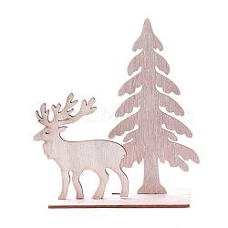 Undyed Platane Wood Home Display Decorations, Christmas Tree with Christmas Reindeer/Stag, BurlyWood, 134.5x42.5x148.5mm, 3pcs/set(DJEW-F006-02)
