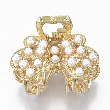 Alloy Claw Hair Clips, with ABS Plastic Imitation Pearl, Long-Lasting Plated, Textured, Butterfly with Heart, Light Gold, White, 34x42x30mm(PHAR-N004-022)
