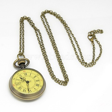 Alloy Flat Round Pendant Necklace Quartz Pocket Watch, with Iron Chains and Lobster Claw Clasps, Antique Bronze, 30.7inches; Watch Head: 44x34x11mm(WACH-N011-10)