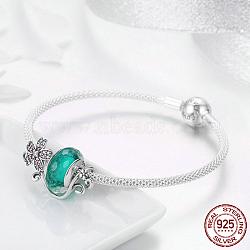 925 bracelets en argent sterling, sculpté 925, avec des perles de Murano, micro paver zircone cubique, fleur, argent antique et argent, 6-3 / 4 (17 cm); 3 mm(BJEW-FF0011-03)