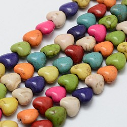 howlite synthétique brins de perles, teints, cœur, coloré, 8x7x4.5 mm, trou: 1 mm; environ 52 perle / brin, 15.3(X-G-P228-85)