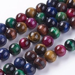 Natural Tiger Eye Beads Strands, Round, Mixed Color, 10mm, hole: 1mm; about 19pcs/strand