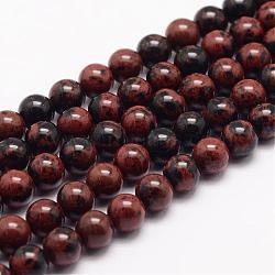 """Acajou naturel chapelets de perles en obsidienne, rond, 6mm, trou: 1mm; environ 63 pcs/chapelet, 15.5""""(G-K153-B17-6mm)"""