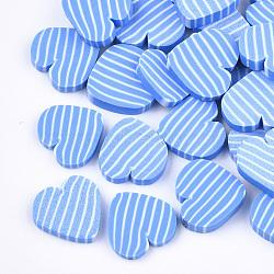main en pate polymère cabochons, coeur avec rayures, cornflowerblue, 9x8.5~10x1~2 mm(X-CLAY-S092-47)