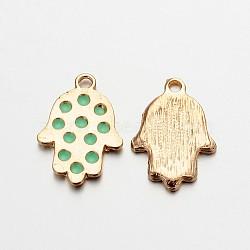 Main en alliage plaqué or léger hamsa main / main de fatima / main de miriam pendentifs pour les bijoux de Bouddha, aigue-marine, 23x16x2mm, Trou: 2mm(ENAM-J542-02KCG)