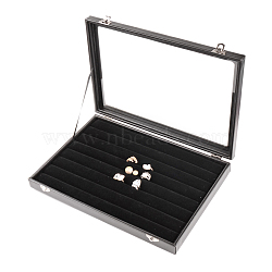 Coffres en imitation cuir et anneaux en bois, avec la glace, rectangle, noir, 24x35x4.5 cm(ODIS-R003-07)