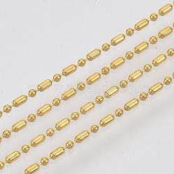 chaînes à billes en laiton, chaînes de perles à facettes boule et barre, plaqué longue durée, soudé, avec bobine, sans cadmium et sans nickel et sans plomb, or, 1.8x1 mm et 1 mm(X-CHC-S008-010F-G)
