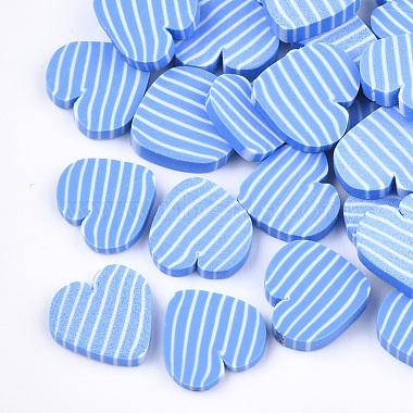 9mm CornflowerBlue Heart Polymer Clay Cabochons