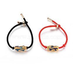 bracelets réglables en nylon, bracelets de slider, bracelets bolo, avec des perles en émail en alliage (la couleur change avec la température) et en laiton, Pi Xiu, or, couleur mélangée, 7-7 / 8 (20 cm);(BJEW-L639-08)