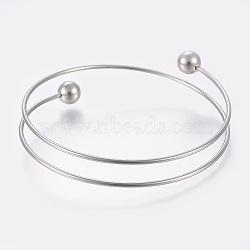 """304 браслеты из нержавеющей стали, цвет нержавеющей стали, 2-1/2"""" (6.5 см)(MAK-K019-01P)"""