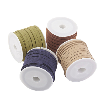 Faux Suede Cord, Faux Suede Lace, Mixed Color, 5x1.5mm, about 5.46 yards(5m)/roll, 4rolls/set(LW-JP0003-5mm-02)