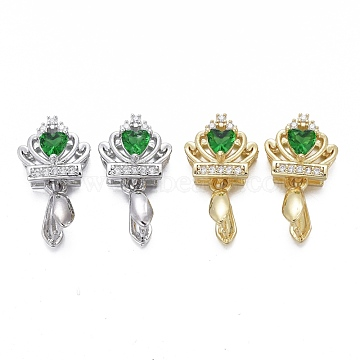 Brass Micro Pave Cubic Zirconia Ice Pick Pinch Bails, Long-Lasting Plated, Crown, Green & Clear, Mixed Color, 19x10.5x7mm, Hole: 2x4mm, Pin: 0.7mm.(KK-K244-45)
