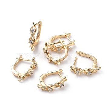 Accessoires de boucle d'oreilles en laiton, avec boucle et zircone cubique transparente, Plaqué longue durée, véritable plaqué or, 16.5x13.5x3.5mm, trou: 1.5 mm; broches: 0.8 mm(ZIRC-L077-033G)