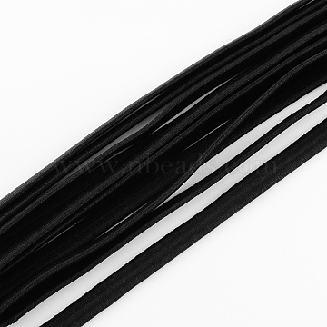 Elastic Cord, with Fibre Outside and Rubber Inside, Black, 5mm, about 109.36 yards(100m)/bundle(EC-R003-0.5cm-13)