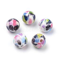 Perles acryliques imprimés opaques, ronde avec motif de feuille, colorées, 10x9.5mm, Trou: 2mm(MACR-S271-10mm-10)