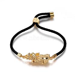 """Bracelets réglables en nylon, Bracelets coulissants, bracelets bolo, avec liens en alliage et accessoires en laiton, Pi Xiu, or, noir, 9-1/4"""" (23.5cm); 3mm(BJEW-L639-07)"""
