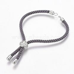 """Création de bracelet en nylon, Bracelets coulissants, avec les accessoires en laiton environnementaux, Plaqué longue durée, Sans cadmium & sans nickel & sans plomb, grises , Platine plaqué réel, 8-1/4"""" (21 cm), Trou: 2.5mm(X-MAK-P005-04P)"""
