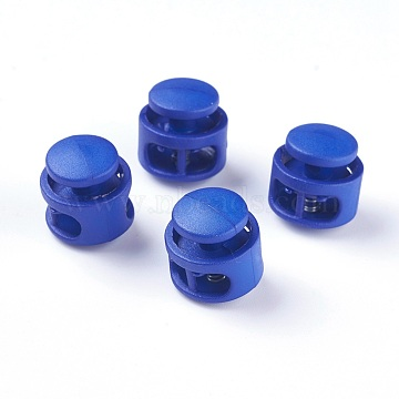 Plastic Spring Cord Locks, with Iron Findings, Platinum, Blue, 17x17x16mm, Hole: 4x6.5mm(FIND-WH0039-01G)