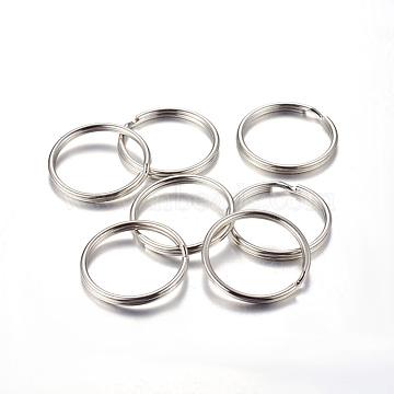 Iron Split Key Rings, Keychain Clasp Findings, Platinum, 30x3mm, Inner Diameter: 26mm(IFIN-C057-30mm)