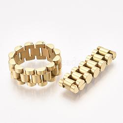 Anneaux en acier inoxydable pour hommes 304, anneaux de chaîne de panthère, or, taille 9, 19mm(STAS-S079-101B-01)