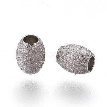 304 Stainless Steel Textured Beads, Oval, Stainless Steel Color, 5x4mm, Hole: 1.8mm(STAS-E455-06P-4x5)