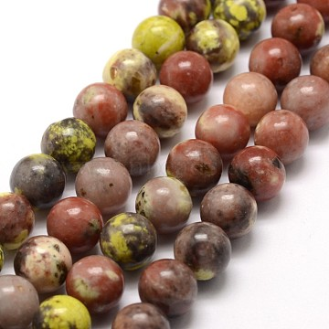 Natural Cherry Blossom Jasper Beads Strands, Round, Colorful, 8mm, Hole: 1mm, about 46~48pcs/strand, 15inches(X-G-A163-02-8mm)