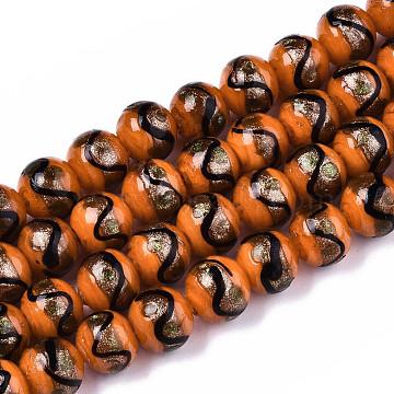 Handmade Gold Sand Lampwork Beads, Round, Dark Orange, 12~12.5x11~12mm, Hole: 1.5~2mm(LAMP-T006-02L)