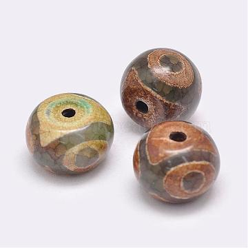 Tibetan Style 3-Eye dZi Beads, Natural Agate Beads, Dyed & Heated, Rondelle, Olive Drab, 14~15x10~12mm, Hole: 2.5~3mm(TDZI-G009-B38)