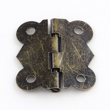 Wooden Box Accessories Iron Hinge, 90 Degree Fixed, Antique Bronze, 29x27x3mm, Hole: 2.5mm(IFIN-R203-55AB)