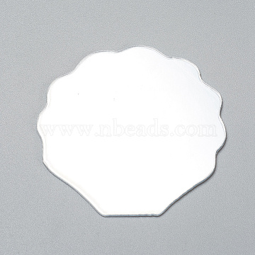 Shell Shape Mirror, for Folding Compact Mirror Cover Molds, Clear, 55x56x1mm(X-DIY-WH0170-50)