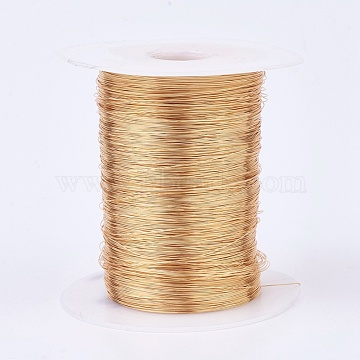Eco-Friendly Copper Wire Copper Beading Wire, Long-Lasting Plated, Real 18K Gold Plated, 24 Gauge, 0.5mm, about 1312.33 Feet(400m)/500g(CWIR-K001-01-0.5mm-KCG)