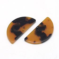 полукруглые подвески на основе ацетата целлюлозы (смолы), полукруглый, золотарник, 37x18x2.5 mm, отверстия: 1.5 mm
