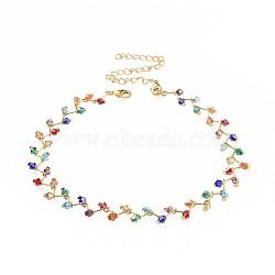 """Perles en verre de colliers, avec fermoirs pince de homard en laiton et chaînes torsadées en fer, or, colorées, 12.7"""" (32.5cm); 11mm(NJEW-JN02499)"""