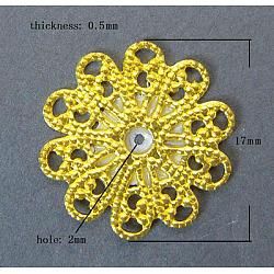 Accessoires en laiton en filigrane rétro, sans plomb et sans cadmium, fleur, dorée, taille: environ 17mm de diamètre, épaisseur de 0.5mm, Trou: 2mm(X-KK-B554-G)