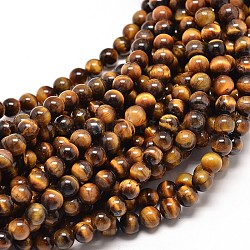 Natural Tiger Eye Round Bead Strands, 8mm, Hole: 1mm; about 49pcs/strand, 16inches
