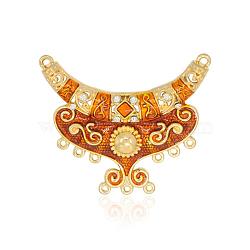 Tons d'or liens émail d'alliage de lustre, avec le cristal ab strass, orange foncé, 53.5x64x6mm, Trou: 2mm(ENAM-J261-05G)