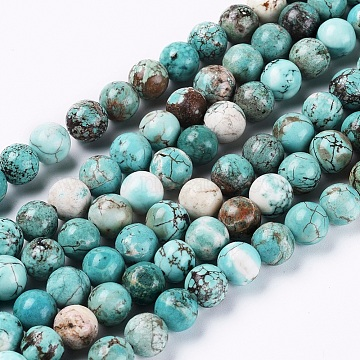 Natural Howlite Beads Strands, Dyed & Heated, Round, 8mm, Hole: 1mm; about 46pcs/strand, 15.35 inches(39cm)(X-G-L555-02-8mm)