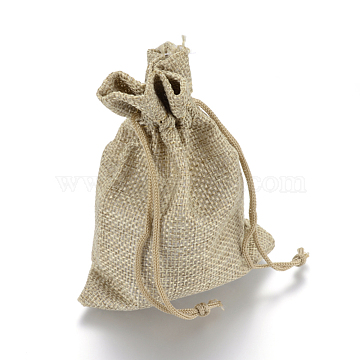 Burlap Packing Pouches Drawstring Bags, Dark Khaki, 9x7cm(X-ABAG-Q050-7x9-01)