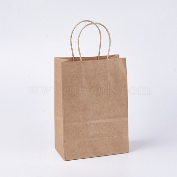 Kraft Paper Bags, with Handle, Brown Paper Bag, SaddleBrown, 15x8x21cm(X-CARB-WH0003-A-10)
