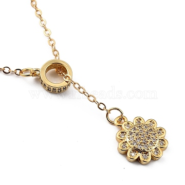 Brass Micro Pave Clear Cubic Zirconia Lariat Necklaces, with Spring Ring Clasps, Flower, Golden, 18.43 inches(46.8cm)(NJEW-JN03010-02)