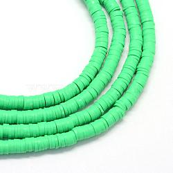 Perles artisanales à l'argile polymère artisanales, disque / rond plat, perles heishi, springgreen, 6x1 mm, trou: 2 mm; environ 380~400 perle / brin, 17.7(X-CLAY-R067-6.0mm-06)