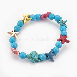 """Bracelets stretch enfants perles de turquoise synthétiques, tortue de mer et étoile de mer et rond, bleu ciel, 2-1/8"""" (5.5 cm)(BJEW-JB03889-01)"""